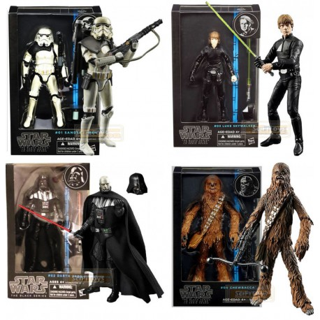 PAck 4 figuras Black series wave 5 Darth Vader Chewbacca Luke Stormtrooper Sandtrooper