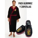 PAck Albornoz Gryffindor adulto Harry Potter Hogwarts y zapatillas 42-45