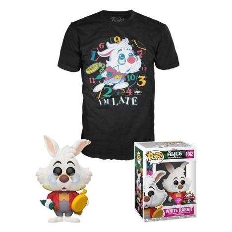 Conejo Blanco y camiseta L White Rabbit Flocked Alicia en el País de las Maravillas Flocked Funko Pop