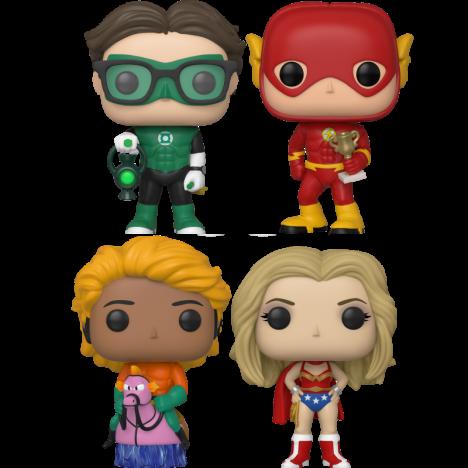 PAck 4 fig Leonard Green Lantern Raj Aquaman Sheldon Flash Big Bang Penny Funko Pop SDCC