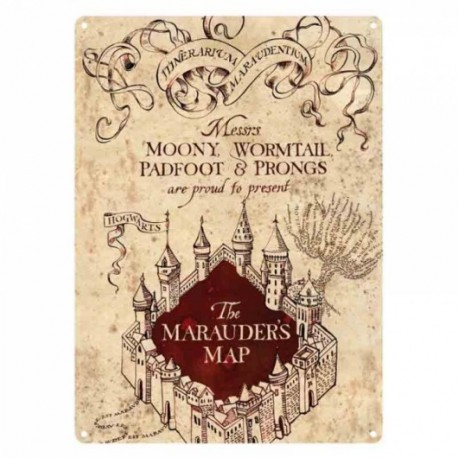 Harry Potter Placa de Chapa Mapa Merodeador Maraude Map No. 1 21x15cm