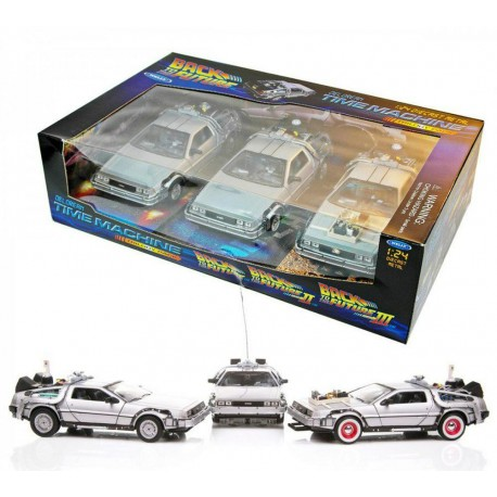Pack 3 Delorean Coche Regreso al Futuro I,II, III Réplica Back to the future caja
