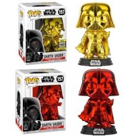 PAck dos DArth Vader rojo y dorado Chrome Funko Pop Exclusiva red gold