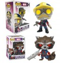 Pack dos funkos clasicos Rocket Star Lord Guardianes 395 396