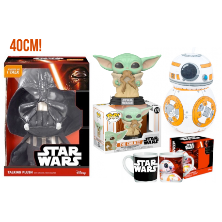 PACK The Child with frog Funko Baby Yoda Peluche sonido Vader 40cm peluche bb8 25cm y taza