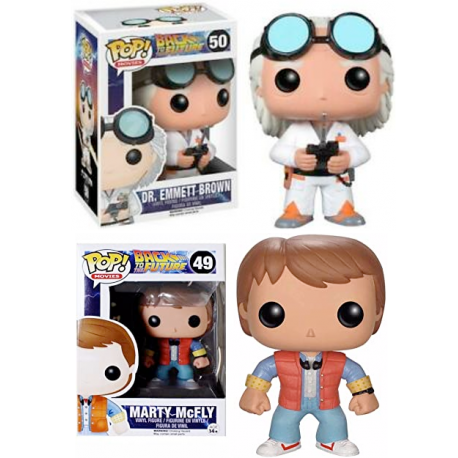 PACK DOS FiguraS Marty McFly Doc Regreso futuro Emmet Brown Pop 61 62 Funko