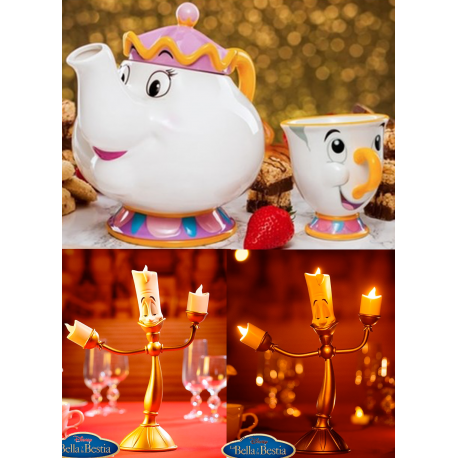 Reserva PAck Tetera MRs Potts Taza Chip La Bella y la Bestia diseñ 3d cerámica Tea Pot y Lámpara Lumiere