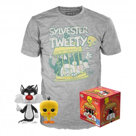 Pop and tee Silvestre Piolin Flocked Tweety Sylvester Funko camiseta Talla M