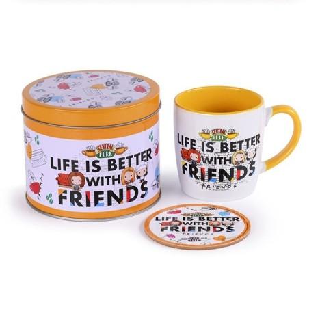 Taza más posavasos en caja lata Friends